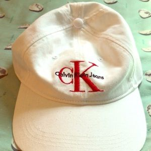 white and red calvin klein dad hat
